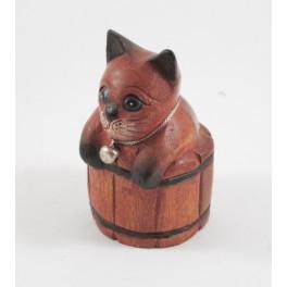 Petit chat sculpté en bois de Suar - N°56