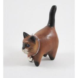 Petit chat sculpté en bois de Suar - N°57