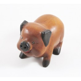 Cochon sculpté en bois de Suar - 15x10