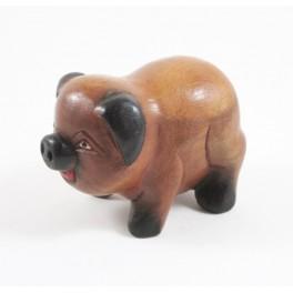 Cochon sculpté en bois de Suar - 9x6