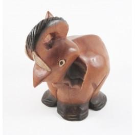 Eléphant assis sculpté en bois de Suar 20x16