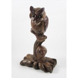 Chouette et son petit sur branche en bois de suar - 31x18