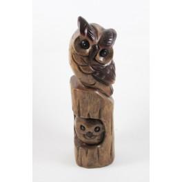 Chouette et son petit sur branche en bois de suar - 31x8