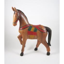 Cheval au Pas sculpté en bois de Suar - 39x28 (Droit)
