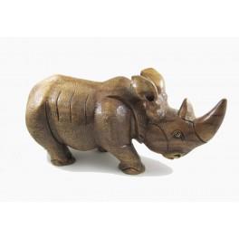 Rhinocéros sculpté en bois de Suar - 53x25