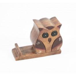 Support Téléphone hiboux en bois de suar