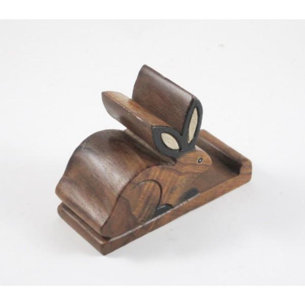 Support Téléphone Tortue en bois de suar