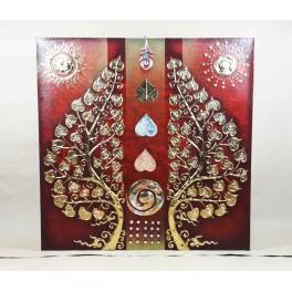 Tableau Arbre De Vie Noir/Rouge et Or / Argent - 60x60 - TB036