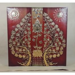 Tableau Arbre De Vie Et Fleur De Lotus Rouge et Or / Argent - 60x60 - TB038