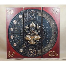 Triptyque Ganesh Rouge/Noir et Or - 60x60 - TB041