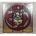 Triptyque Ganesh Rouge/Noir et Or - 60x60 - TB042
